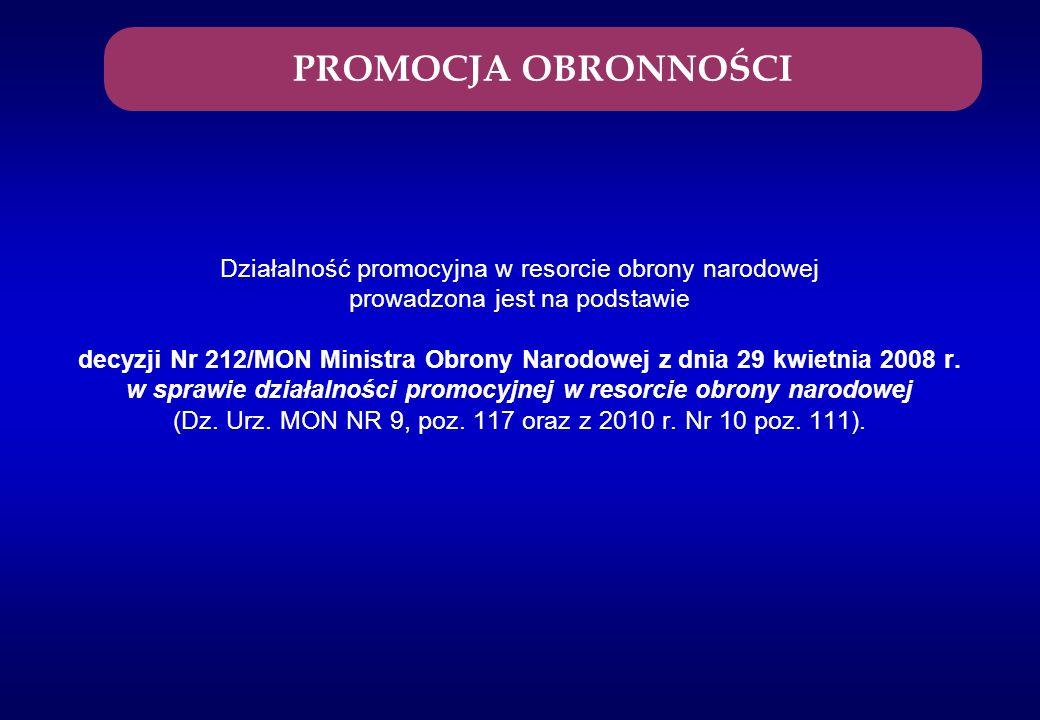 Działalność promocyjna w resorcie obrony narodowej prowadzona jest na podstawie decyzji Nr 212/MON Ministra Obrony Narodowej z dnia 29 kwietnia 2008 r
