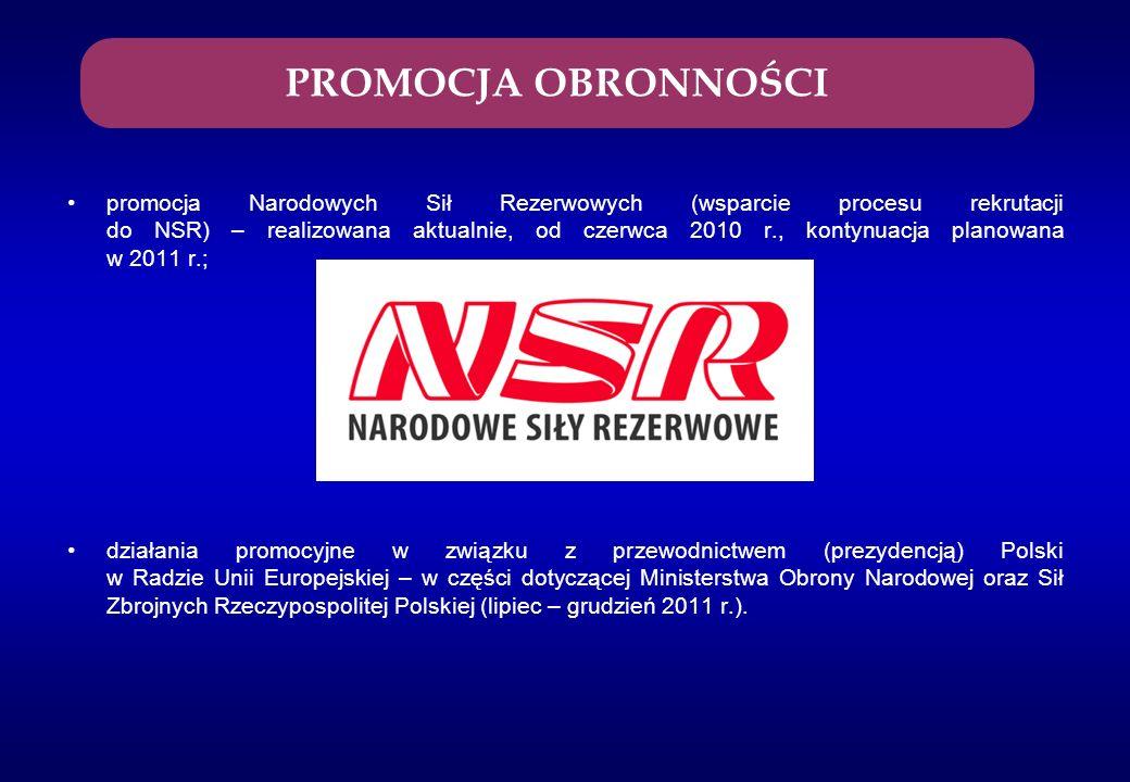 promocja Narodowych Sił Rezerwowych (wsparcie procesu rekrutacji do NSR) – realizowana aktualnie, od czerwca 2010 r., kontynuacja planowana w 2011 r.;