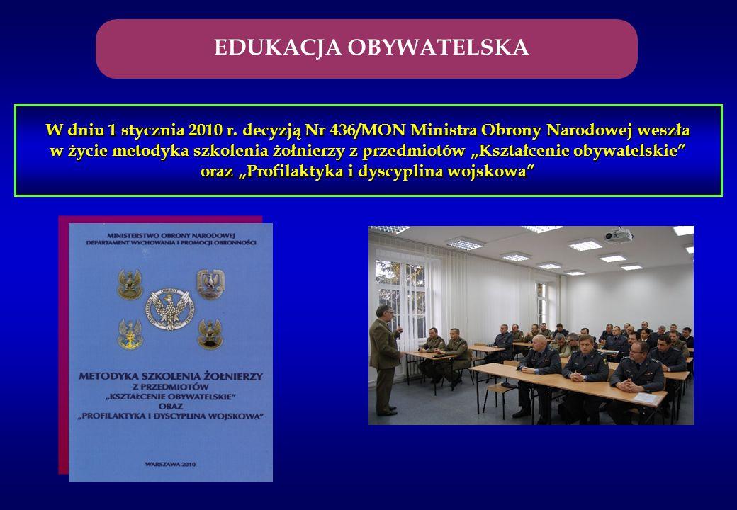W dniu 1 stycznia 2010 r. decyzją Nr 436/MON Ministra Obrony Narodowej weszła w życie metodyka szkolenia żołnierzy z przedmiotów Kształcenie obywatels