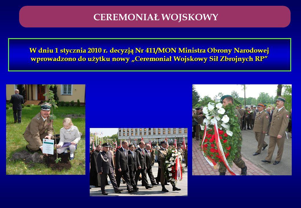 W dniu 1 stycznia 2010 r. decyzją Nr 411/MON Ministra Obrony Narodowej wprowadzono do użytku nowy Ceremoniał Wojskowy Sił Zbrojnych RP CEREMONIAŁ WOJS