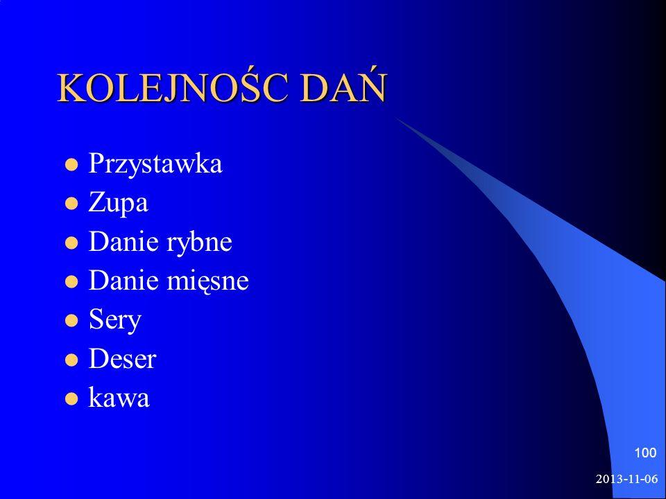 KOLEJNOŚC DAŃ Przystawka Zupa Danie rybne Danie mięsne Sery Deser kawa 2013-11-06 100