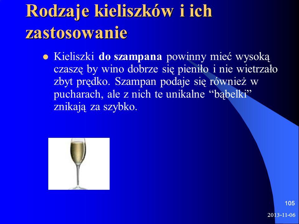 Rodzaje kieliszków i ich zastosowanie Kieliszki do szampana powinny mieć wysoką czaszę by wino dobrze się pieniło i nie wietrzało zbyt prędko. Szampan