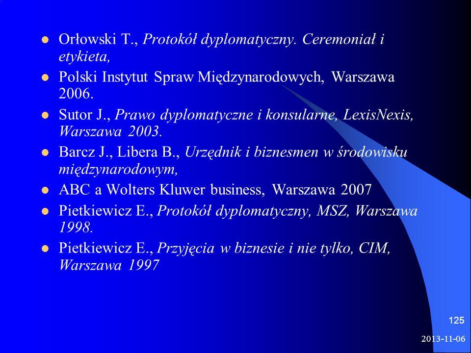 Orłowski T., Protokół dyplomatyczny. Ceremoniał i etykieta, Polski Instytut Spraw Międzynarodowych, Warszawa 2006. Sutor J., Prawo dyplomatyczne i kon