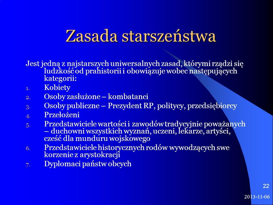 2013-11-06 22 Zasada starszeństwa Jest jedną z najstarszych uniwersalnych zasad, którymi rządzi się ludzkość od prahistorii i obowiązuje wobec następu