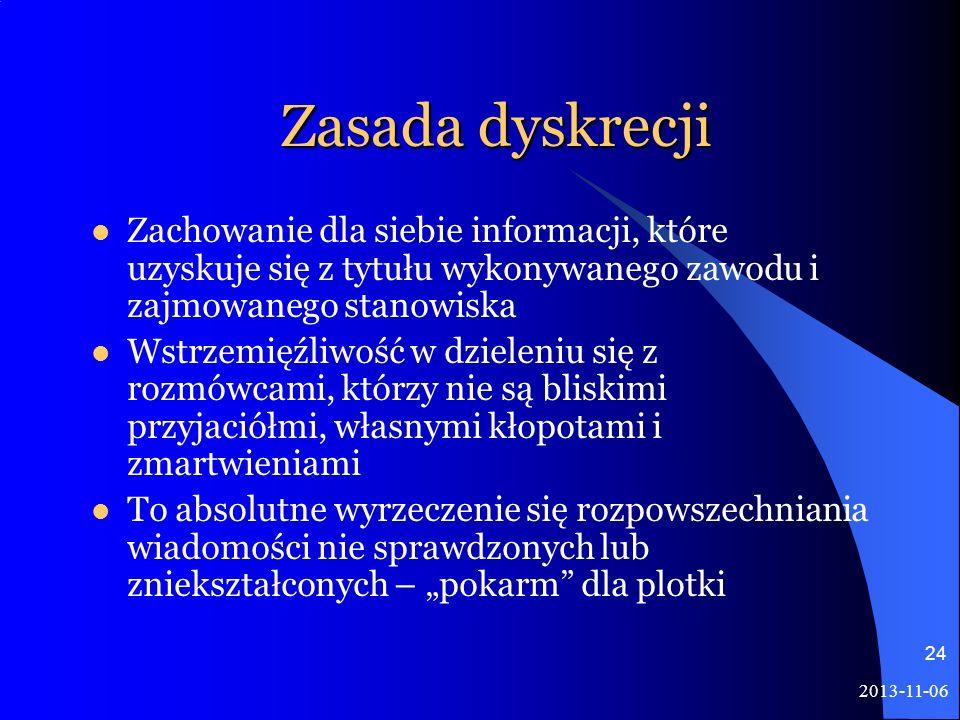 2013-11-06 24 Zasada dyskrecji Zachowanie dla siebie informacji, które uzyskuje się z tytułu wykonywanego zawodu i zajmowanego stanowiska Wstrzemięźli