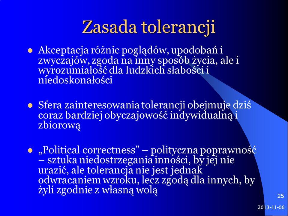 2013-11-06 25 Zasada tolerancji Akceptacja różnic poglądów, upodobań i zwyczajów, zgoda na inny sposób życia, ale i wyrozumiałość dla ludzkich słabośc