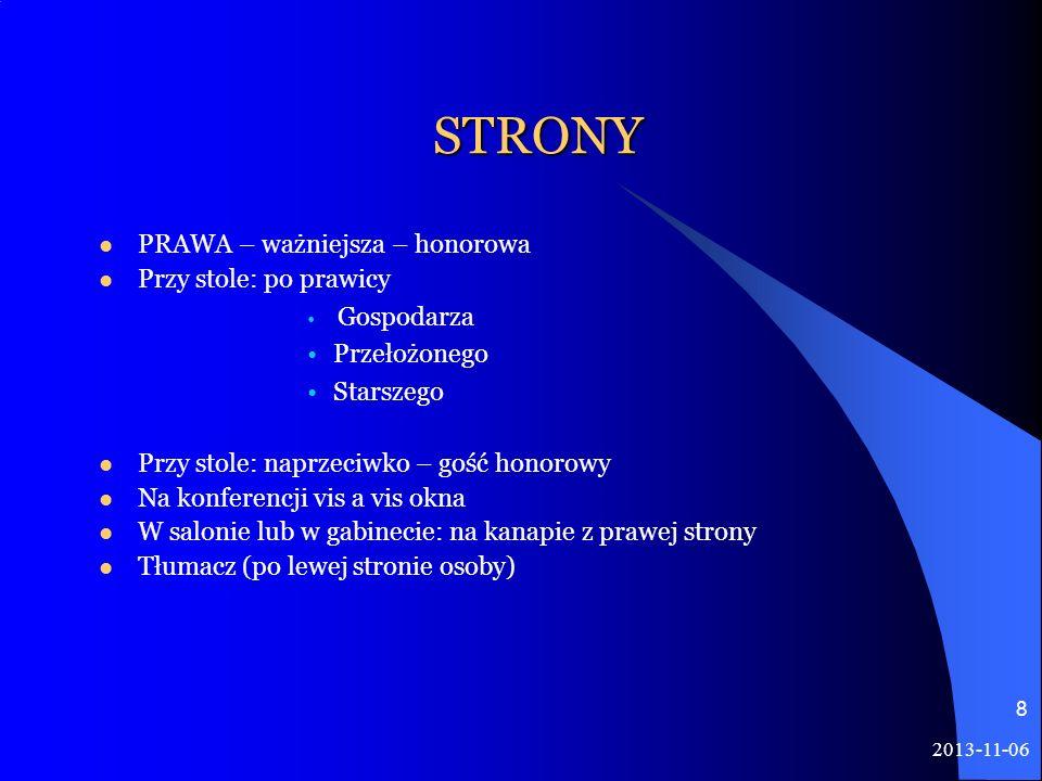 2013-11-06 8 STRONY PRAWA – ważniejsza – honorowa Przy stole: po prawicy Gospodarza Przełożonego Starszego Przy stole: naprzeciwko – gość honorowy Na
