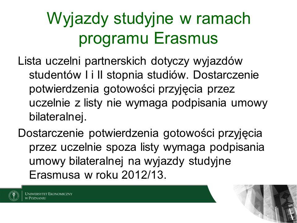 Wyjazdy studyjne w ramach programu Erasmus Lista uczelni partnerskich dotyczy wyjazdów studentów I i II stopnia studiów. Dostarczenie potwierdzenia go
