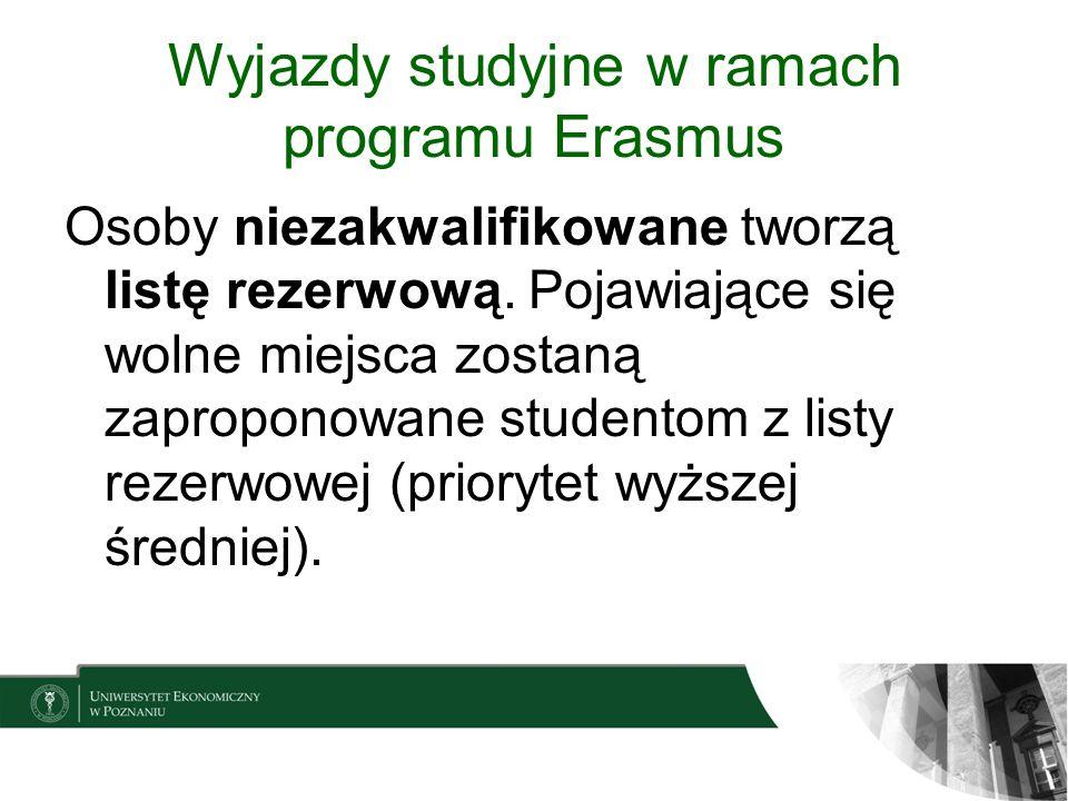 Wyjazdy studyjne w ramach programu Erasmus Osoby niezakwalifikowane tworzą listę rezerwową. Pojawiające się wolne miejsca zostaną zaproponowane studen