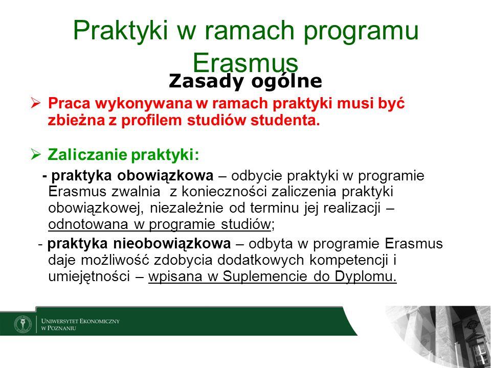 Praktyki w ramach programu Erasmus Zasady ogólne Praca wykonywana w ramach praktyki musi być zbieżna z profilem studiów studenta. Zaliczanie praktyki: