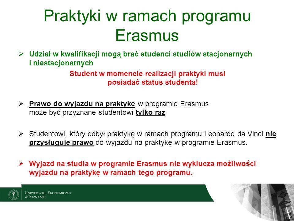 Praktyki w ramach programu Erasmus Udział w kwalifikacji mogą brać studenci studiów stacjonarnych i niestacjonarnych Student w momencie realizacji pra