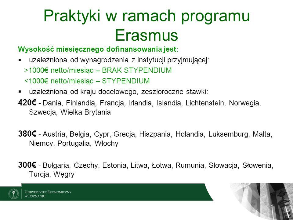 Praktyki w ramach programu Erasmus Wysokość miesięcznego dofinansowania jest: uzależniona od wynagrodzenia z instytucji przyjmującej: >1000 netto/mies