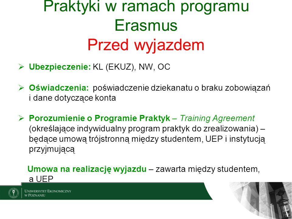 Praktyki w ramach programu Erasmus Przed wyjazdem Ubezpieczenie: KL (EKUZ), NW, OC Oświadczenia: poświadczenie dziekanatu o braku zobowiązań i dane do