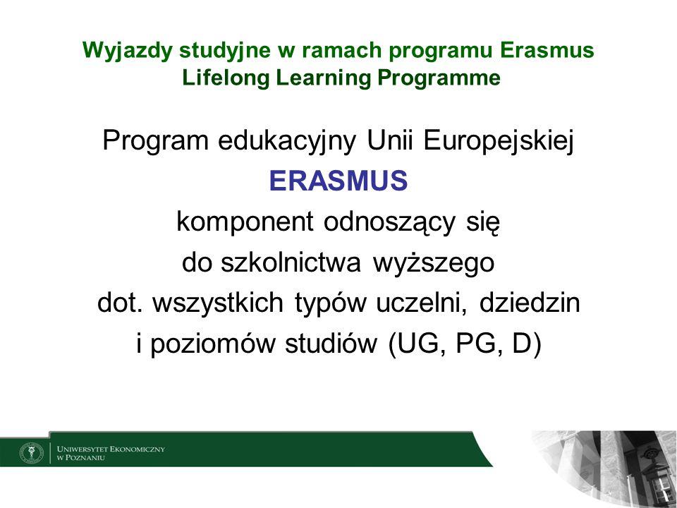 Wyjazdy studyjne w ramach programu Erasmus Kraje uczestniczące: 27 krajów UE + 4 kraje Europejskiego Obszaru Gospodarczego (Islandia, Lichtenstein, Norwegia, Szwajcaria*) + Turcja, Chorwacja