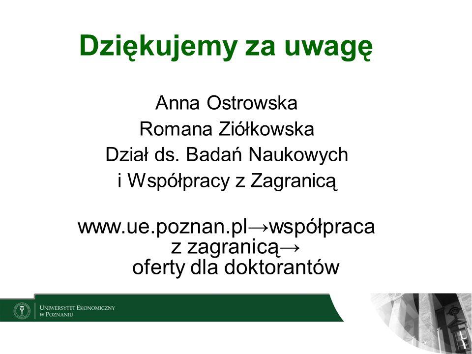 Dziękujemy za uwagę Anna Ostrowska Romana Ziółkowska Dział ds. Badań Naukowych i Współpracy z Zagranicą www.ue.poznan.plwspółpraca z zagranicą oferty