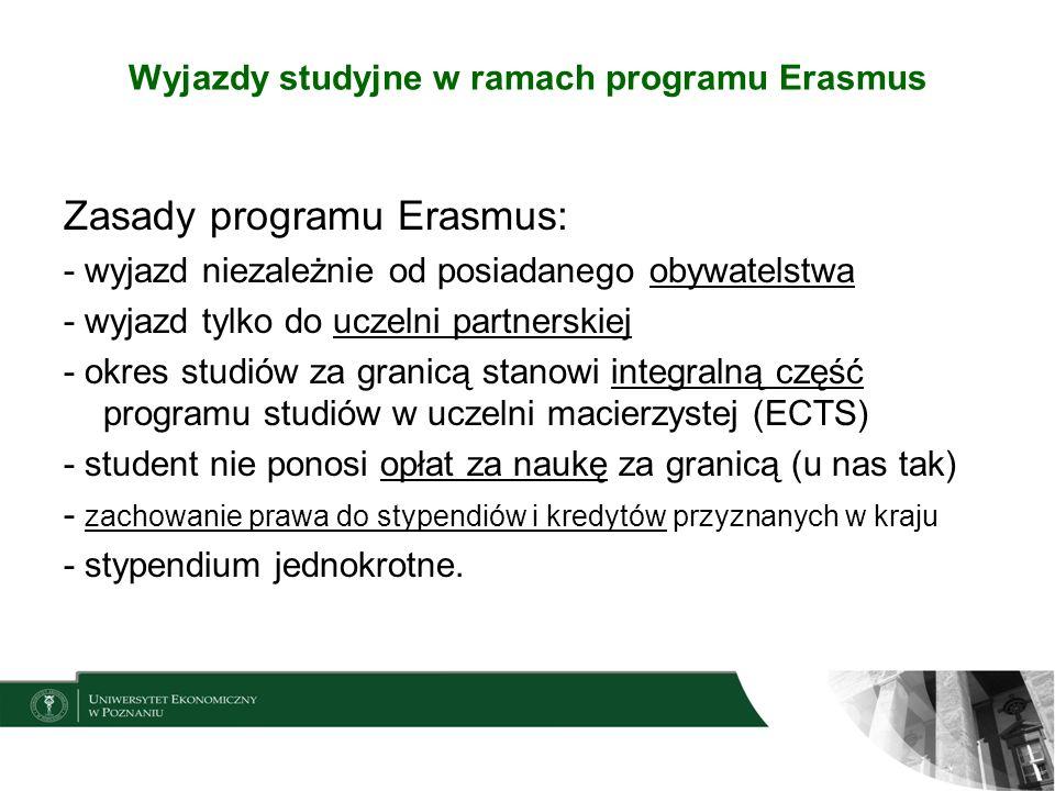 Wyjazdy studyjne w ramach programu Erasmus Zasady programu Erasmus: - wyjazd niezależnie od posiadanego obywatelstwa - wyjazd tylko do uczelni partner