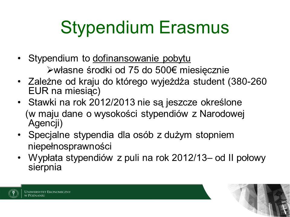 Stypendium Erasmus Stypendium to dofinansowanie pobytu własne środki od 75 do 500 miesięcznie Zależne od kraju do którego wyjeżdża student (380-260 EU