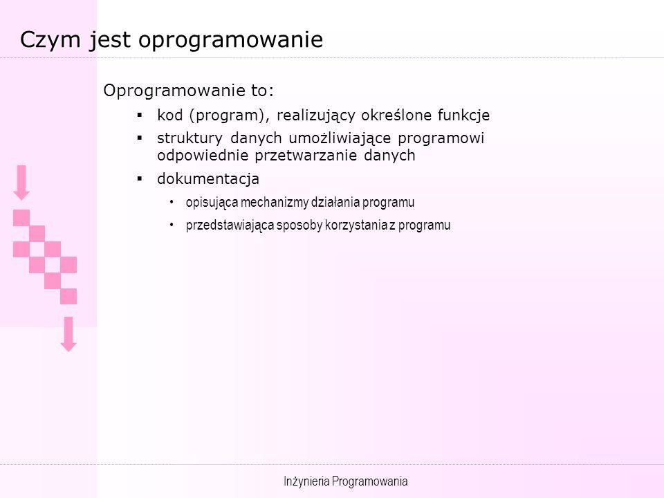 Inżynieria Programowania Czym jest oprogramowanie Oprogramowanie to Oprogramowanie to: kod (program), realizujący określone funkcje struktury danych umożliwiające programowi odpowiednie przetwarzanie danych dokumentacja opisująca mechanizmy działania programu przedstawiająca sposoby korzystania z programu