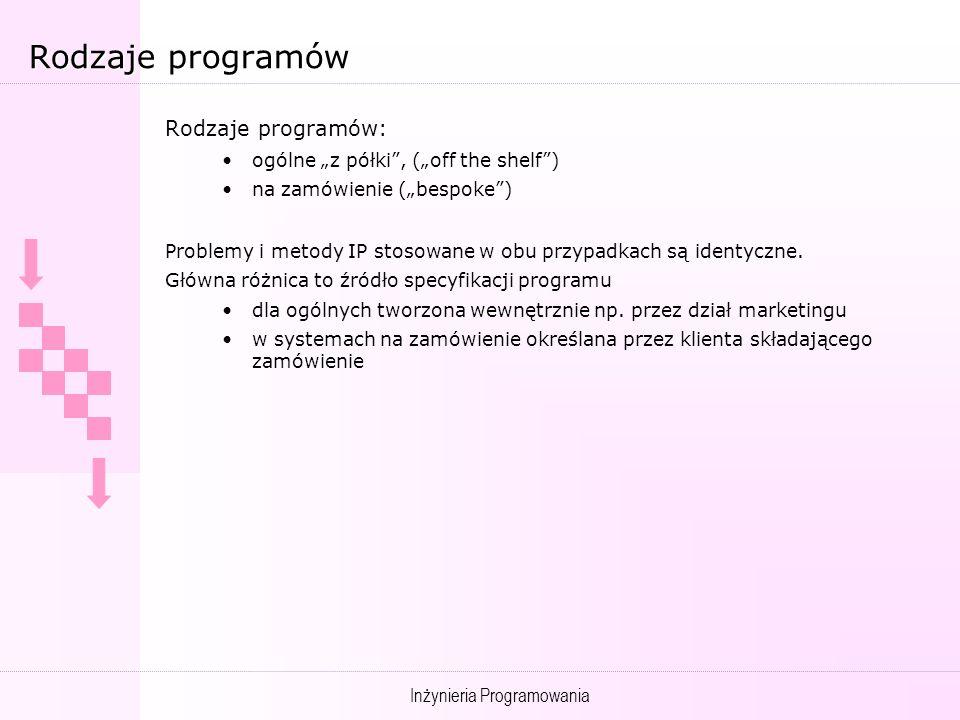 Inżynieria Programowania Rodzaje programów Rodzaje programów: ogólne z półki, (off the shelf) na zamówienie (bespoke) Problemy i metody IP stosowane w obu przypadkach są identyczne.