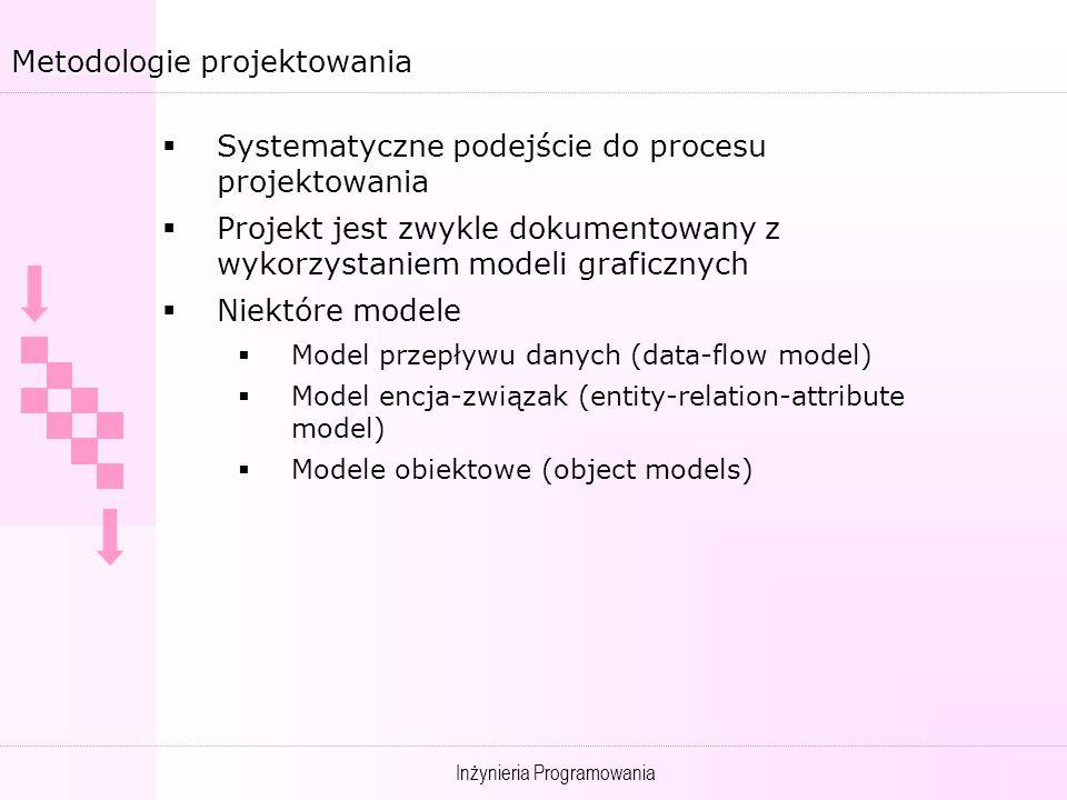 Inżynieria Programowania Metodologie projektowania Systematyczne podejście do procesu projektowania Projekt jest zwykle dokumentowany z wykorzystaniem modeli graficznych Niektóre modele Model przepływu danych (data-flow model) Model encja-związak (entity-relation-attribute model) Modele obiektowe (object models)