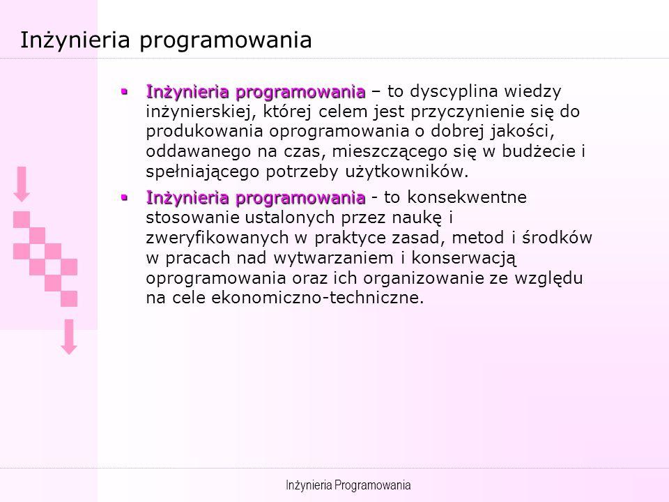 Inżynieria Programowania Definicje literaturowe Zastosowanie systematycznego, zdyscyplinowanego, ilościowego podejścia do wykonywania, wykorzystywania i konserwowania oprogramowania [IEEE 93] Zastosowanie metod naukowych i matematycznych, dzięki czemu możliwości sprzętu komputerowego stają się użyteczne dla ludzi dzięki programom, procedurom i odpowiedniej dokumentacji [Boehm-S.E.