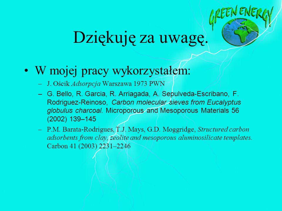 Dziękuję za uwagę. W mojej pracy wykorzystałem: –J. Ościk Adsorpcja Warszawa 1973 PWN –G. Bello, R. Garcia, R. Arriagada, A. Sepulveda-Escribano, F. R