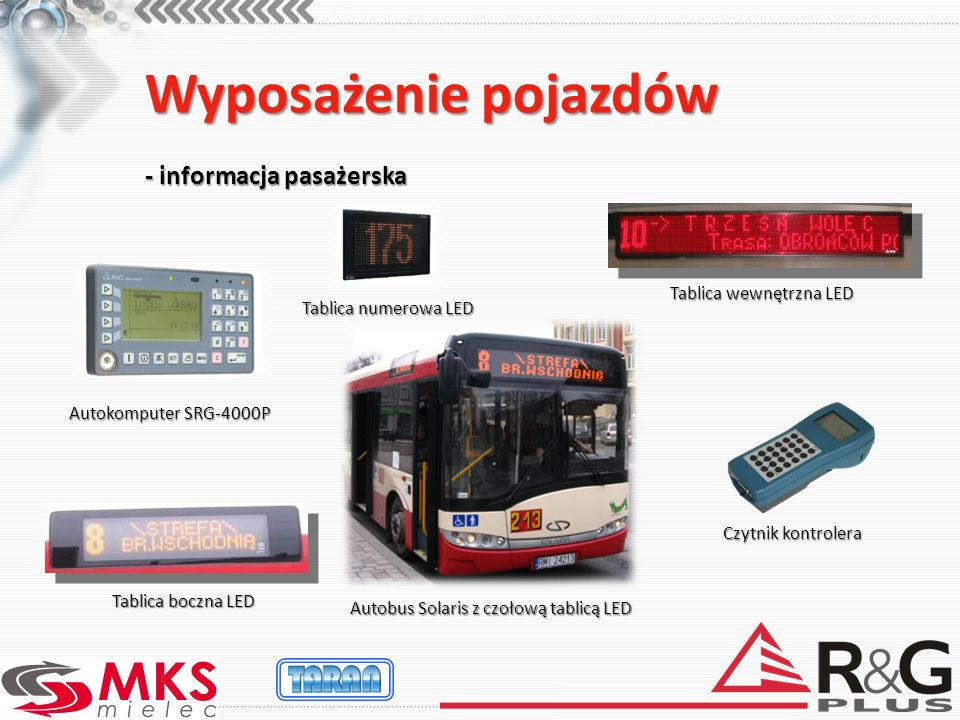 Wyposażenie pojazdów - informacja pasażerska Tablica wewnętrzna LED Autokomputer SRG-4000P Tablica boczna LED Autobus Solaris z czołową tablicą LED Tablica numerowa LED Czytnik kontrolera