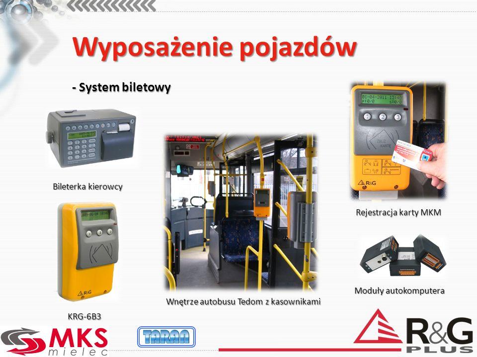 Wyposażenie pojazdów - System biletowy Rejestracja karty MKM Wnętrze autobusu Tedom z kasownikami KRG-6B3 Bileterka kierowcy Moduły autokomputera
