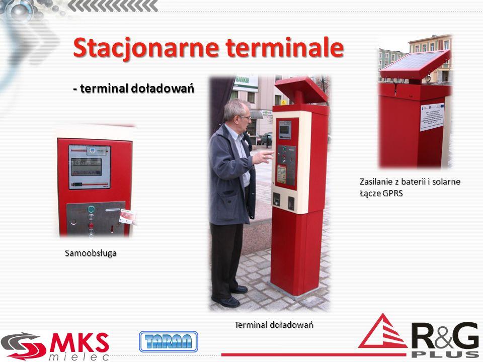 Stacjonarne terminale - terminal doładowań Terminal doładowań Zasilanie z baterii i solarne Łącze GPRS Samoobsługa