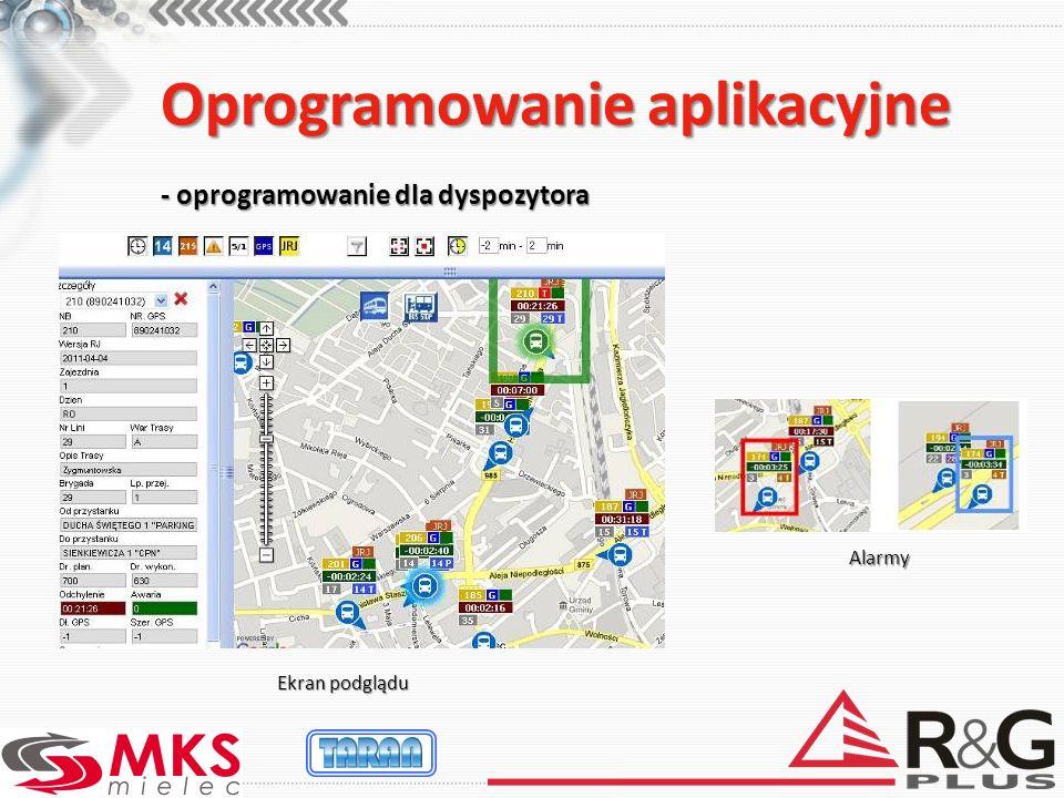 Oprogramowanie aplikacyjne - oprogramowanie dla dyspozytora Ekran podglądu Alarmy