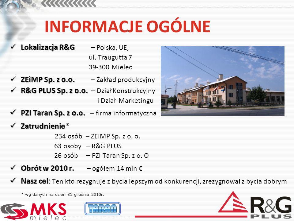 INFORMACJE OGÓLNE Lokalizacja R&G Lokalizacja R&G – Polska, UE, ul. Traugutta 7 39-300 Mielec ZEiMP Sp. z o.o. ZEiMP Sp. z o.o. – Zakład produkcyjny R