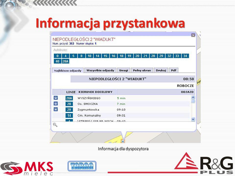 Informacja przystankowa Informacja dla dyspozytora