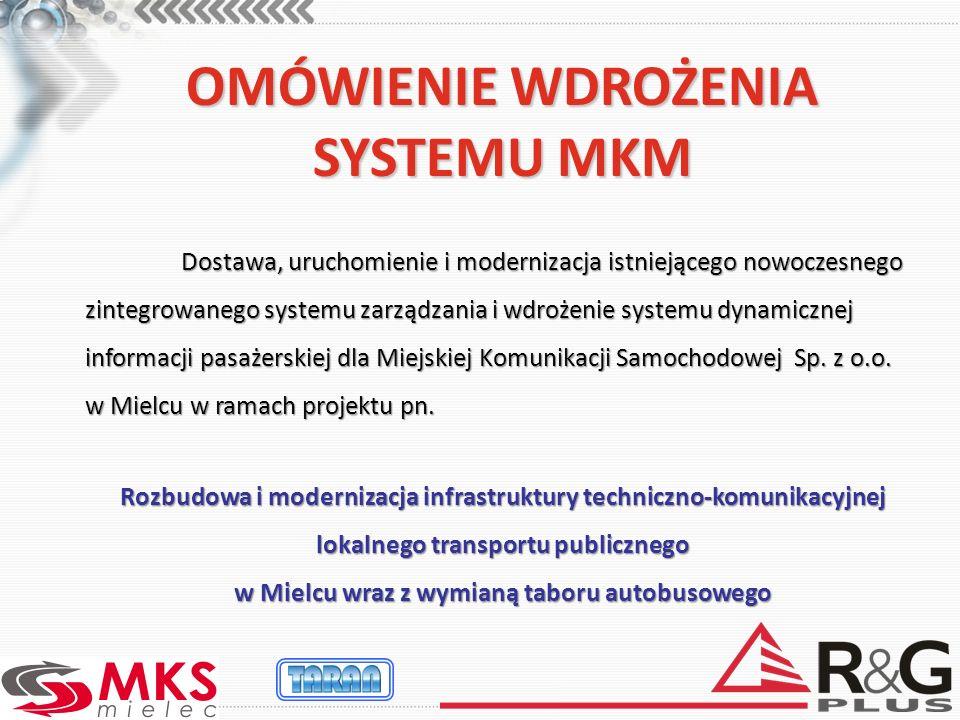 OMÓWIENIE WDROŻENIA SYSTEMU MKM Dostawa, uruchomienie i modernizacja istniejącego nowoczesnego zintegrowanego systemu zarządzania i wdrożenie systemu