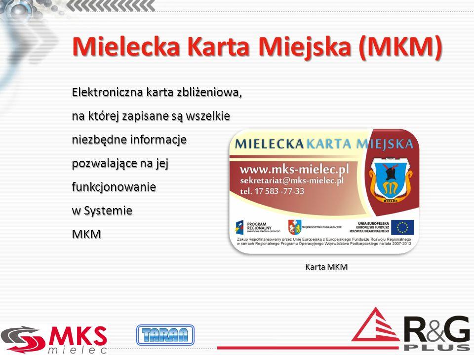 Mielecka Karta Miejska (MKM) Elektroniczna karta zbliżeniowa, na której zapisane są wszelkie niezbędne informacje pozwalające na jej funkcjonowanie w