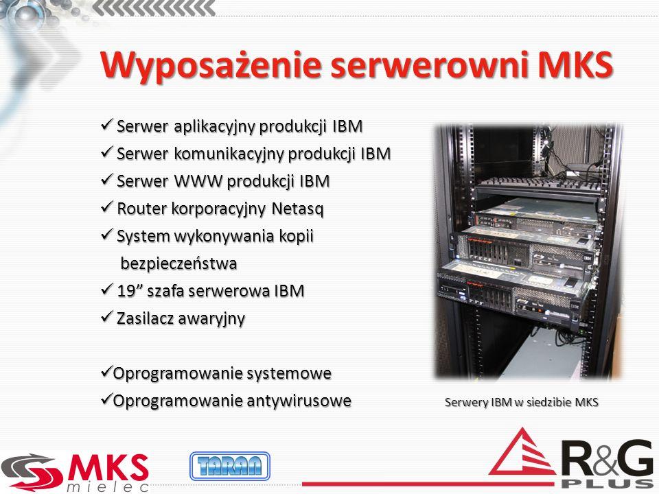 Wyposażenie serwerowni MKS Serwer aplikacyjny produkcji IBM Serwer aplikacyjny produkcji IBM Serwer komunikacyjny produkcji IBM Serwer komunikacyjny p