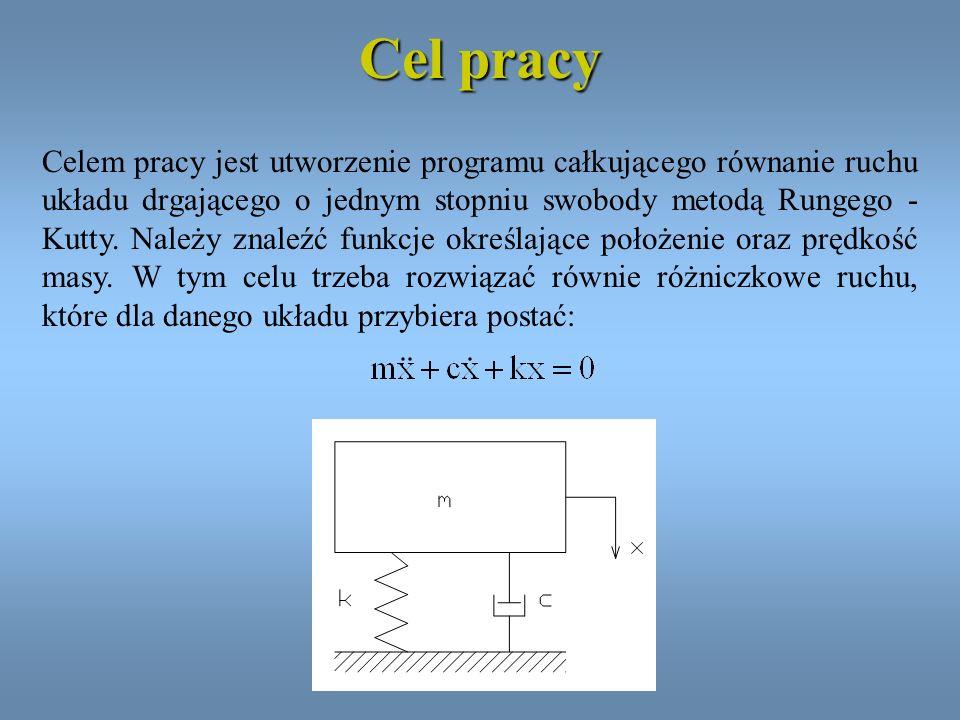 Cel pracy Celem pracy jest utworzenie programu całkującego równanie ruchu układu drgającego o jednym stopniu swobody metodą Rungego - Kutty. Należy zn