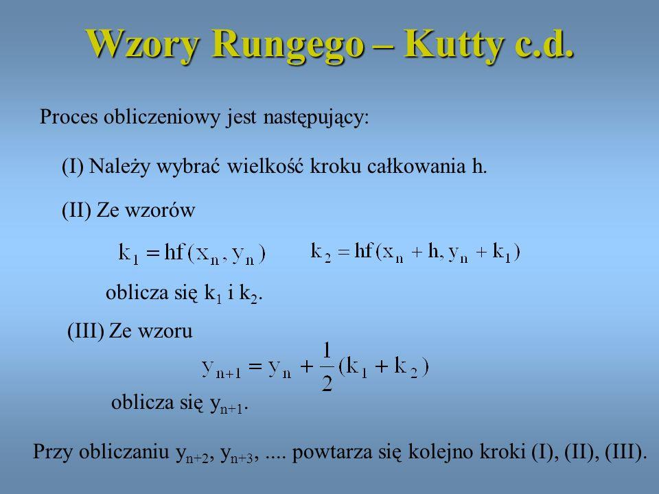 Wzory Rungego – Kutty c.d. Proces obliczeniowy jest następujący: (I) Należy wybrać wielkość kroku całkowania h. (II) Ze wzorów oblicza się k 1 i k 2.