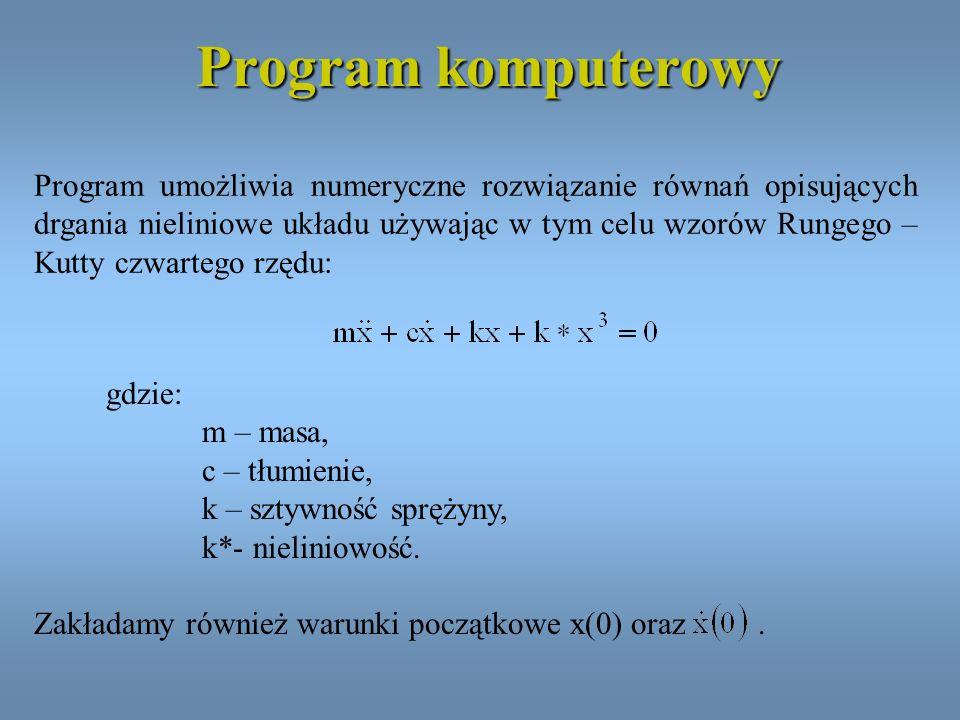 Program komputerowy Program umożliwia numeryczne rozwiązanie równań opisujących drgania nieliniowe układu używając w tym celu wzorów Rungego – Kutty c