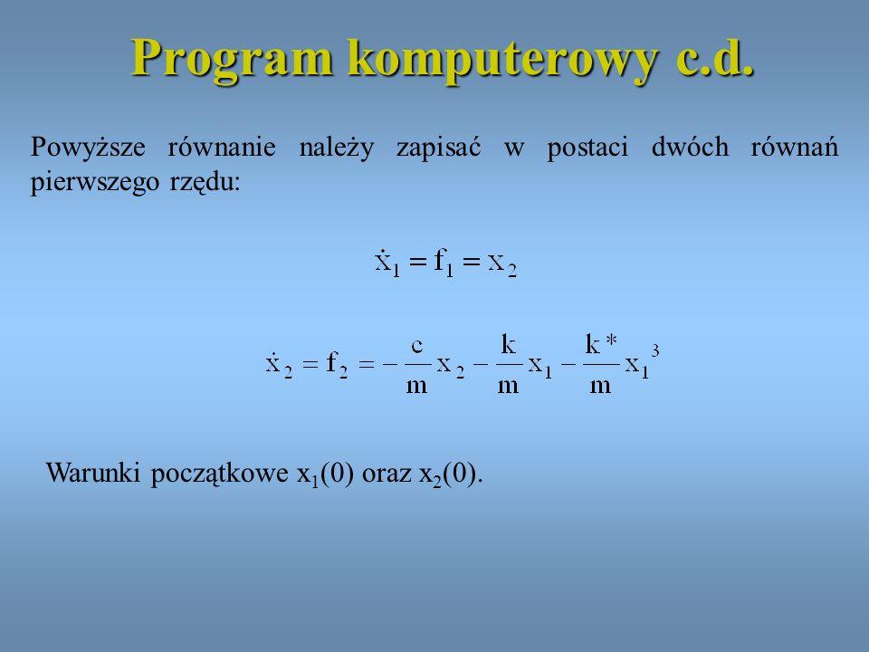 Program komputerowy c.d. Powyższe równanie należy zapisać w postaci dwóch równań pierwszego rzędu: Warunki początkowe x 1 (0) oraz x 2 (0).