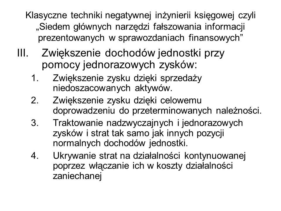 Klasyczne techniki negatywnej inżynierii księgowej czyli Siedem głównych narzędzi fałszowania informacji prezentowanych w sprawozdaniach finansowych I