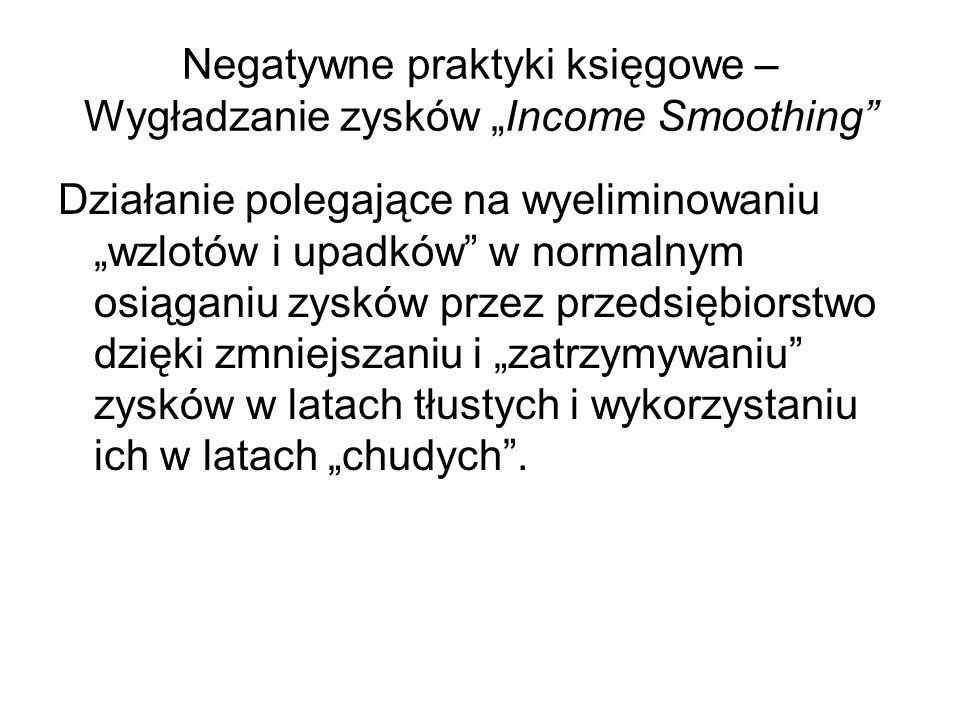 Negatywne praktyki księgowe – Wygładzanie zysków Income Smoothing Działanie polegające na wyeliminowaniu wzlotów i upadków w normalnym osiąganiu zyskó