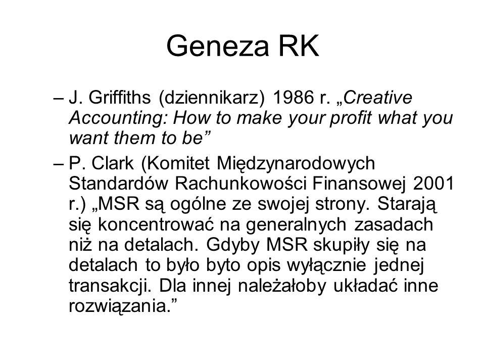 Geneza RK –J. Griffiths (dziennikarz) 1986 r. Creative Accounting: How to make your profit what you want them to be –P. Clark (Komitet Międzynarodowyc