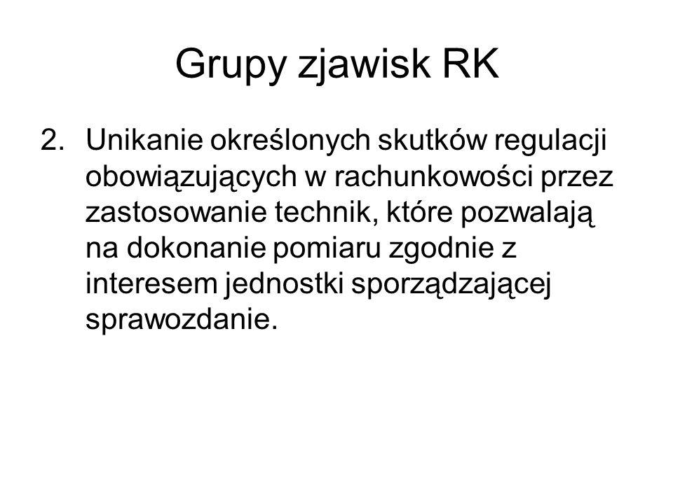 Grupy zjawisk RK 2.Unikanie określonych skutków regulacji obowiązujących w rachunkowości przez zastosowanie technik, które pozwalają na dokonanie pomi