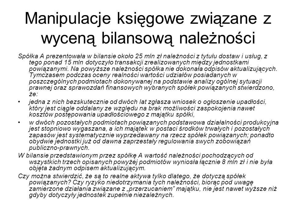 Manipulacje księgowe związane z wyceną bilansową należności Spółka A prezentowała w bilansie około 25 mln zł należności z tytułu dostaw i usług, z teg