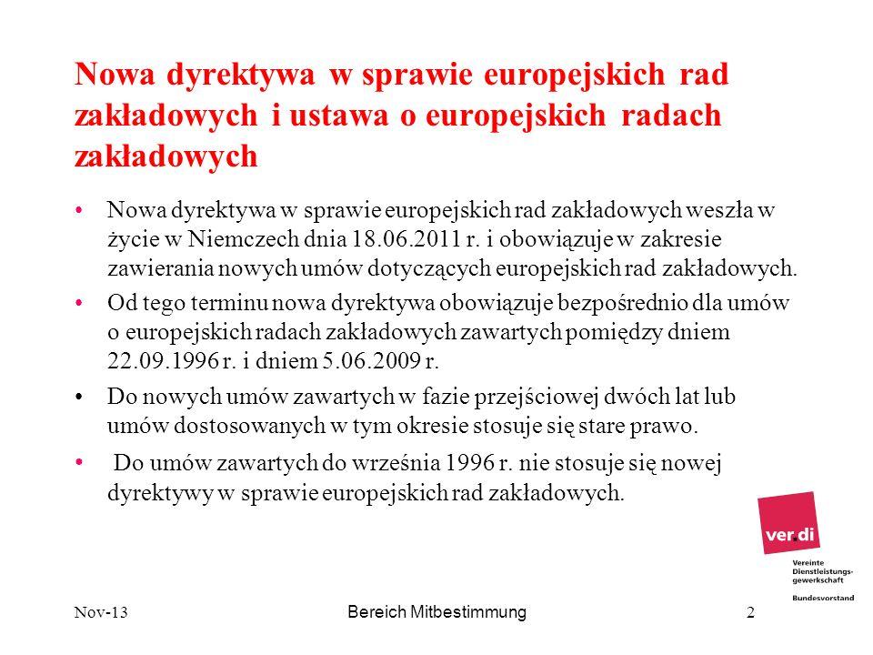 Nowa dyrektywa w sprawie europejskich rad zakładowych i ustawa o europejskich radach zakładowych Nowa dyrektywa w sprawie europejskich rad zakładowych