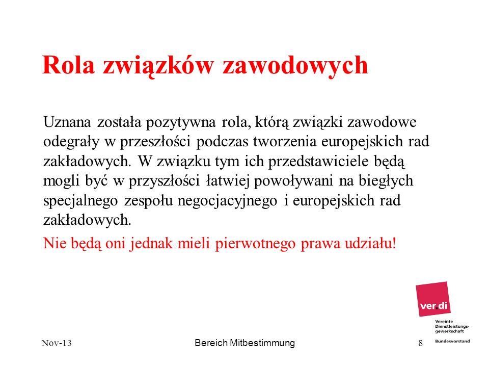 Nov-13 Bereich Mitbestimmung 8 Rola związków zawodowych Uznana została pozytywna rola, którą związki zawodowe odegrały w przeszłości podczas tworzenia
