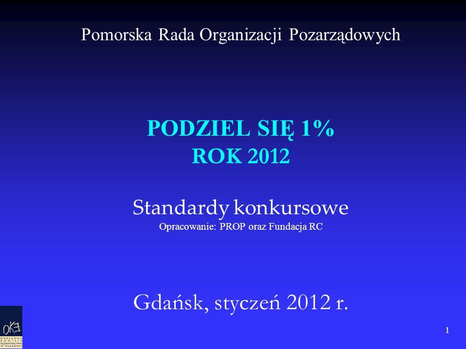 1 Pomorska Rada Organizacji Pozarządowych PODZIEL SIĘ 1% ROK 2012 Standardy konkursowe Opracowanie: PROP oraz Fundacja RC Gdańsk, styczeń 2012 r.