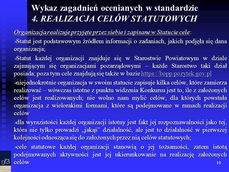 10 Wykaz zagadnień ocenianych w standardzie 4. REALIZACJA CELÓW STATUTOWYCH Organizacja realizuje przyjęte przez siebie i zapisane w Statucie cele: St