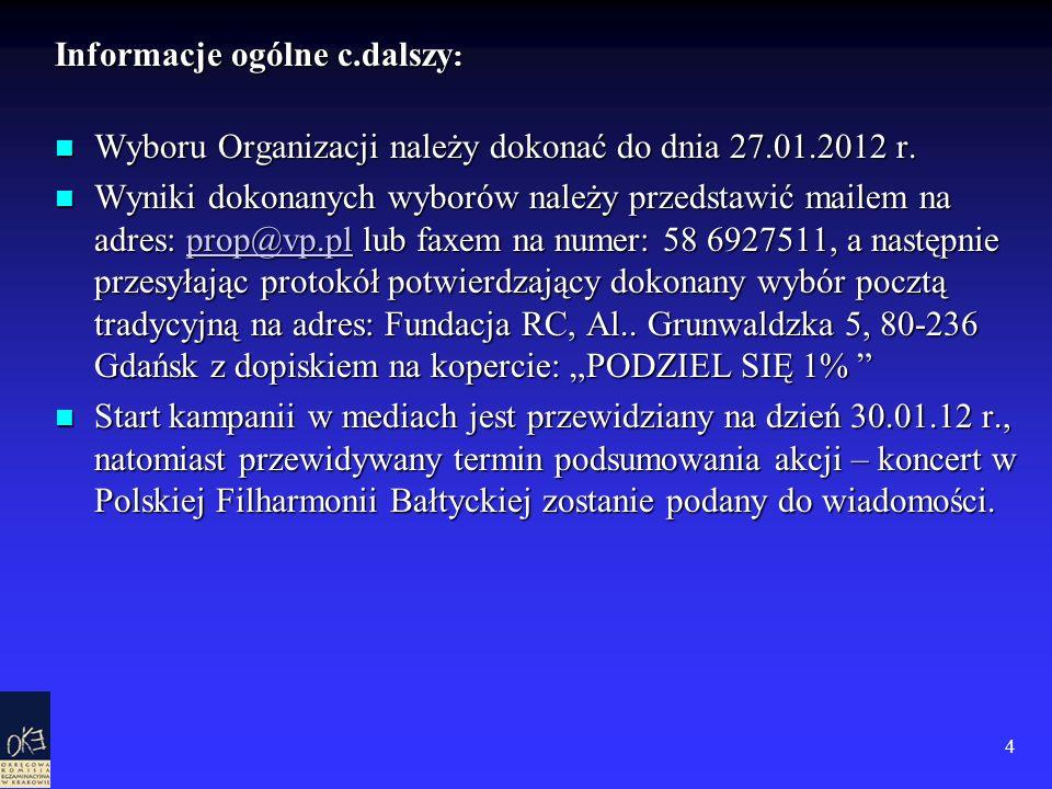 4 Informacje ogólne c.dalszy : Wyboru Organizacji należy dokonać do dnia 27.01.2012 r. Wyboru Organizacji należy dokonać do dnia 27.01.2012 r. Wyniki
