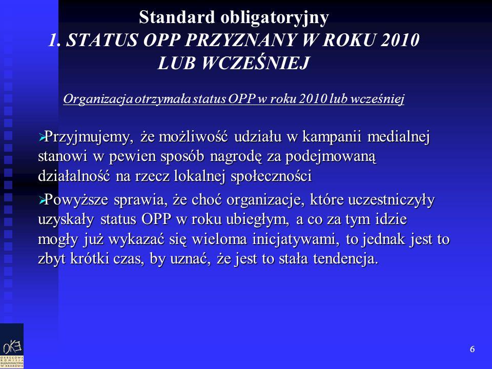 6 Standard obligatoryjny 1. STATUS OPP PRZYZNANY W ROKU 2010 LUB WCZEŚNIEJ Organizacja otrzymała status OPP w roku 2010 lub wcześniej Przyjmujemy, że